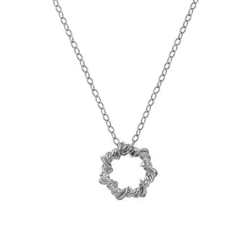 Round Decorated Circle Hot Diamonds Sterling Silver Necklace DP752
