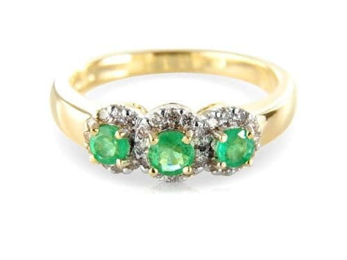 Round Green Emerald And Diamond Yellow Gold Trilogy Ring