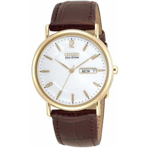 Round Men's Citizen Gold Plated Brown Strap Watch Eco-Drive BM8242-08A