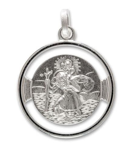 Round Pierced Solid Silver St. Christopher Necklace