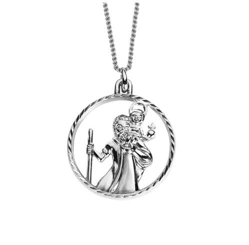 Round Pierced Sterling Silver St. Christopher Necklace