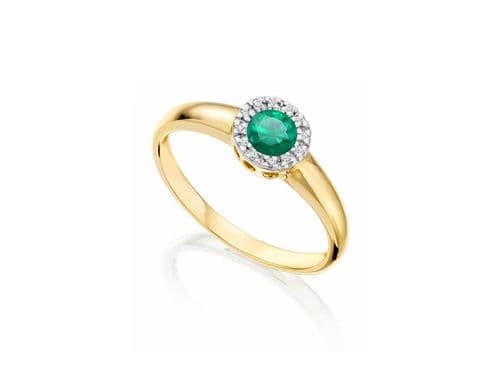 Round Shaped Emerald And Diamond Yellow Gold Cluster Ring