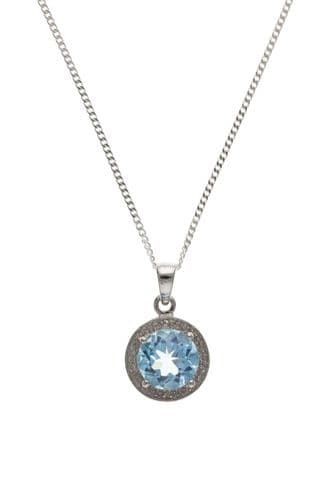 Round Shaped Sterling Silver Blue Topaz Necklace Pendant