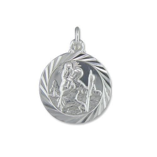 Round Solid Sterling Silver St. Christopher Necklace Double Sided