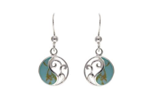 Round Sterling Silver Blue Turquoise Drop Earrings