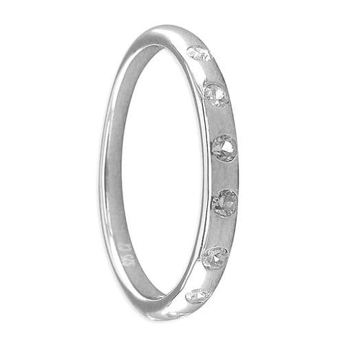 Round Sterling Silver Cubic Zirconia Eternity Or Wedding Ring