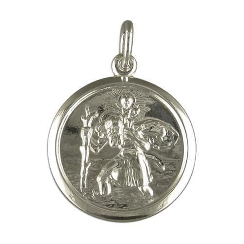 Round Sterling Silver Double Sided St Christopher