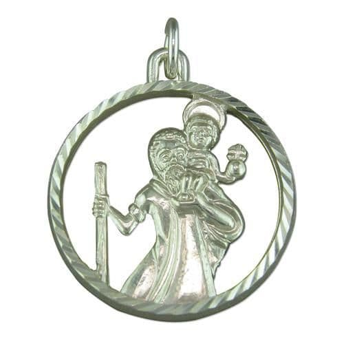 Round Sterling Silver Pierced St. Christopher Including Chain