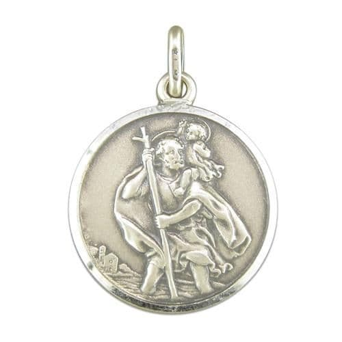 Round Sterling Silver St. Christopher 20 mm