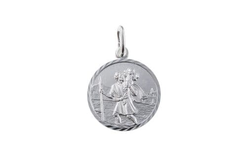Round Sterling Silver St. Christopher Including Chain 22 mm
