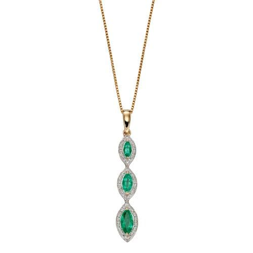 Round Triple Trilogy Green Emerald And Diamond Cluster Necklace Pendant Yellow Gold