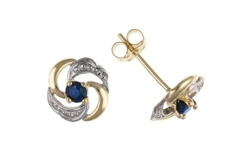Round Yellow Gold Blue Sapphire Stud Earrings