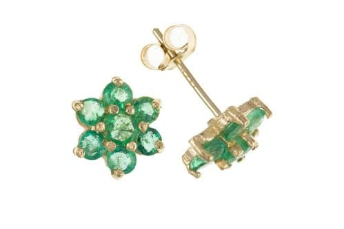 Round Yellow Gold Green Emerald Daisy Cluster Stud Earrings