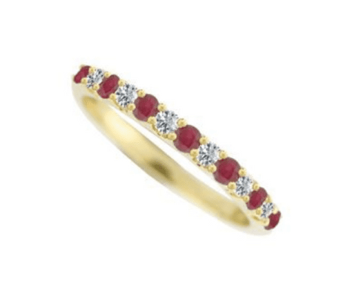 Ruby And Diamond Eternity Ring Yellow Gold