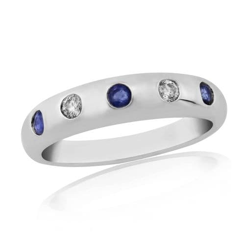 Sapphire And Diamond White Gold Eternity Ring