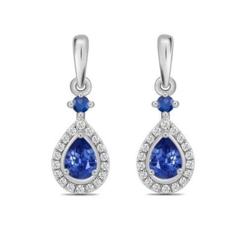 Sapphire And Diamond White Gold Teardrop Cluster Earrings