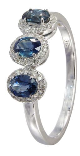 Sapphire White Gold Fancy Trilogy Dress Ring