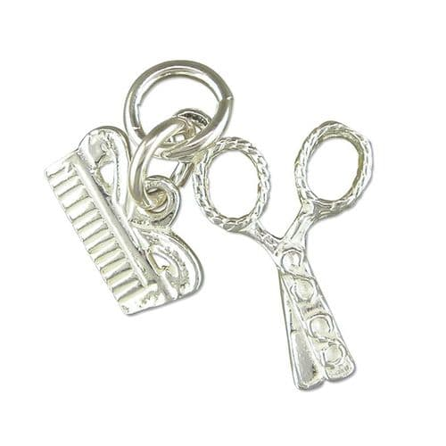 Scissors And Comb Charm Sterling Silver
