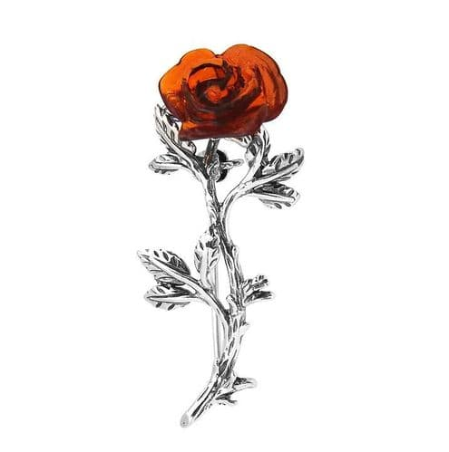 Silver Amber Rose Shaped Brooch