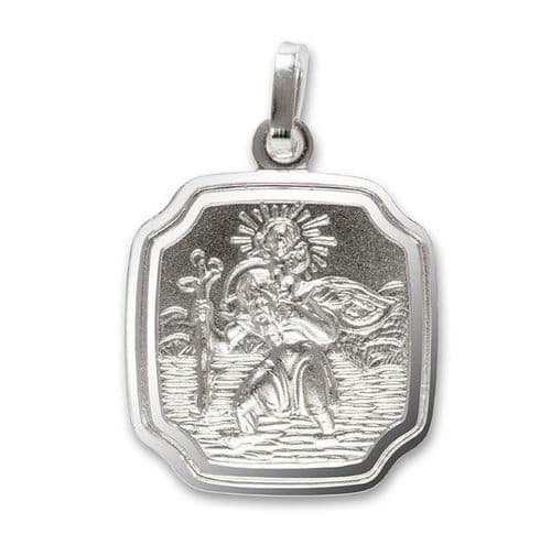 Silver Cushion Shaped St. Christopher Curved Corners 16 mm