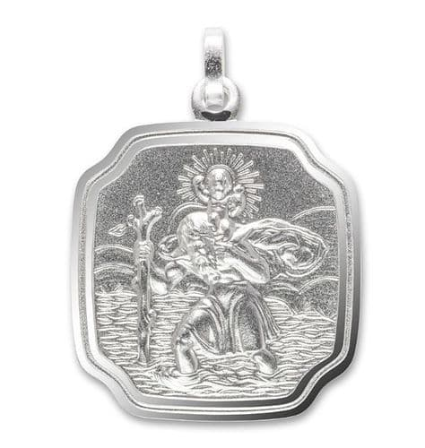 Silver Cushion Shaped St. Christopher With Rounded Curved Corners 24 mm