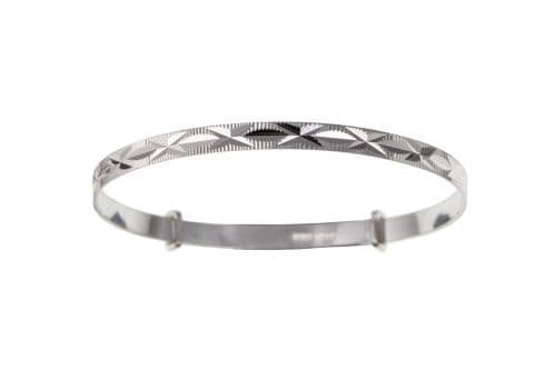 Silver Diamond Cut Kiss Large Expanding Bangle