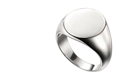 Silver Gents Extra Heavyweight Rounded Oval Signet  Ring RHLJJ