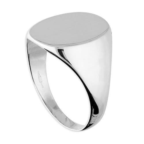Silver Large Oval Signet Ring