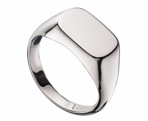 Silver Men's Gents Heavyweight Rounded Oblong Signet Ring