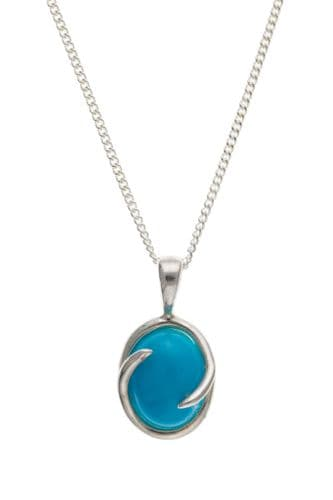 Silver Oval Turquoise Necklace BTRRNE