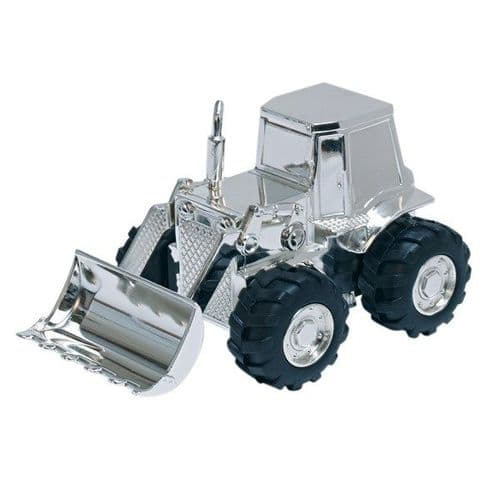 Silver Plated Digger Tractor Money Box Christening Gift