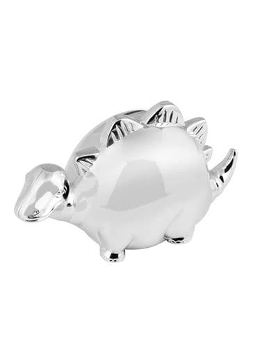 Silver Plated Dinosaur Money Box Christening Gift