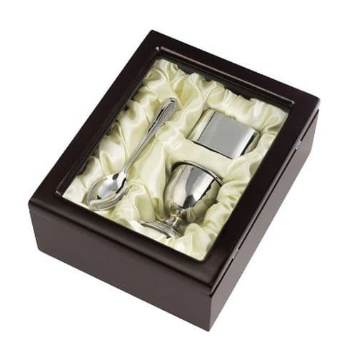 Silver Plated Egg Cup And Spoon With Napkin Ring Christening Gift Set
