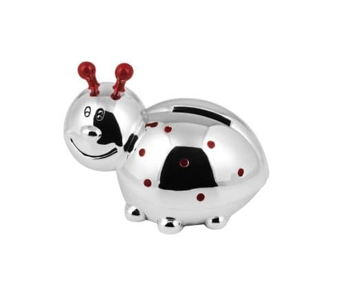 Silver Plated Ladybird Money Box Christening Gift