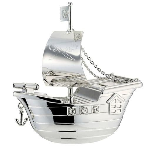 Silver Plated Pirate Ship Boat Christening Money Box