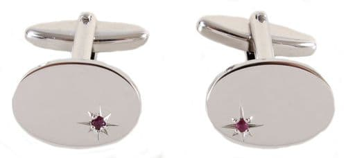 Silver Plated Real Ruby Oval Cufflinks