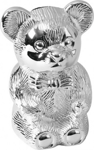 Silver Plated Teddy Bear Money Box Christening Gift