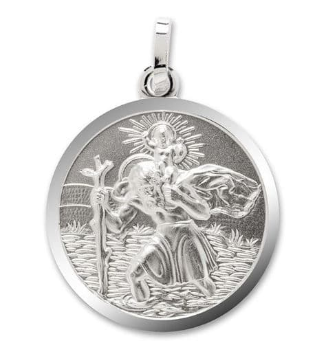 Silver Round Shaped St. Christopher Double Sided