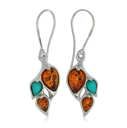 Silver Turquoise And Amber Drop Earrings