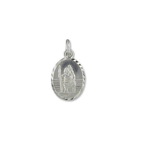 Small Sterling Silver Oval St. Christopher Including Chain