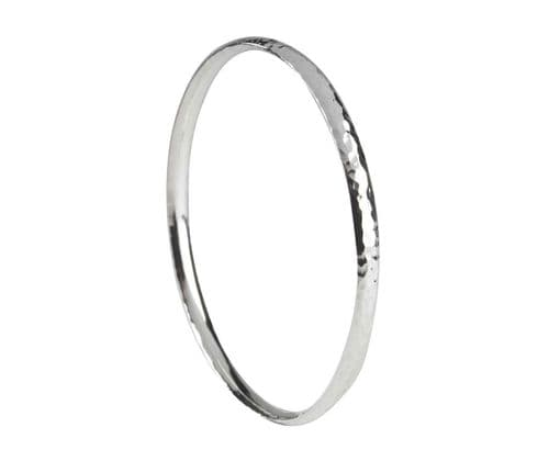 Solid Heavyweight Hammered Sterling Silver Round Bangle SCOB2H