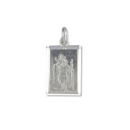 Solid Sterling Silver Rectangular St. Christopher Including Chain