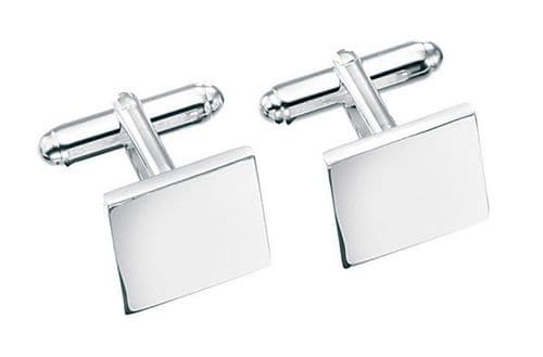 Solid Sterling Silver Square Plain Cufflinks