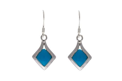 Square Blue Sterling Silver Turquoise Drop Earrings BP6384