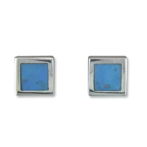 Square Blue Turquoise Sterling Silver Stud Earrings