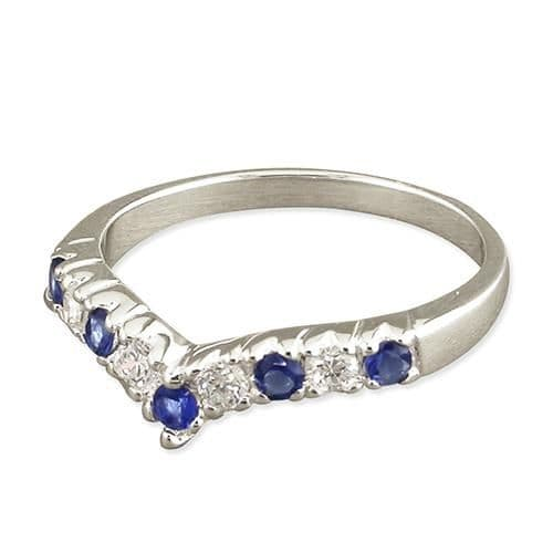 Sterling Silver Blue Sapphire And Cubic Zirconia Wishbone Ring