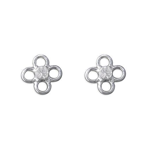 Sterling Silver Cubic Zirconia Stud Earrings R8557/W