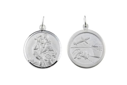 Sterling Silver Double Sided St. Christopher Including Chain 22 mm