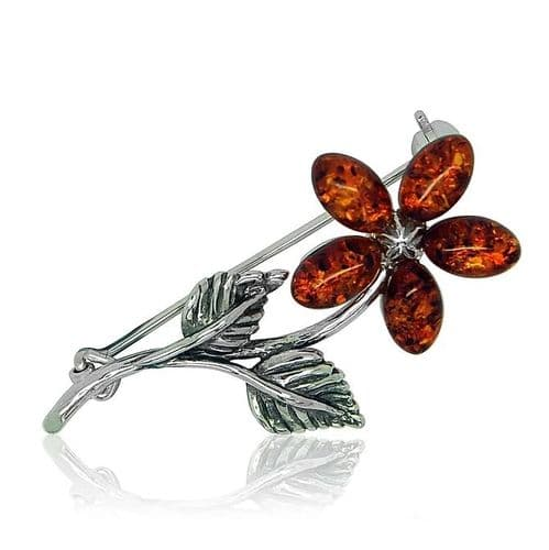 Sterling Silver | Flower | Amber Brooch