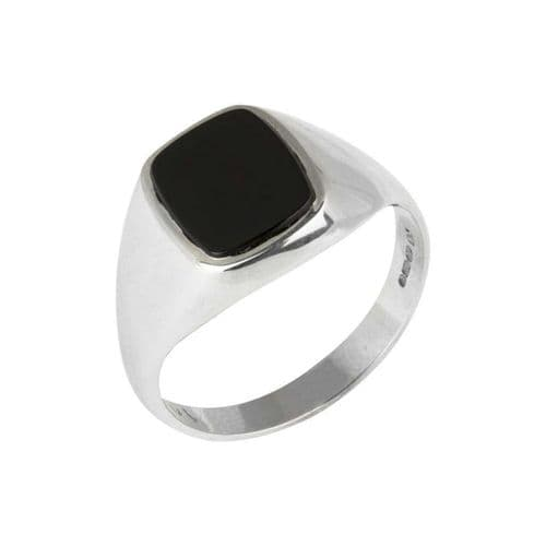 Sterling Silver Gents Cushion Shaped Black Onyx Signet Ring